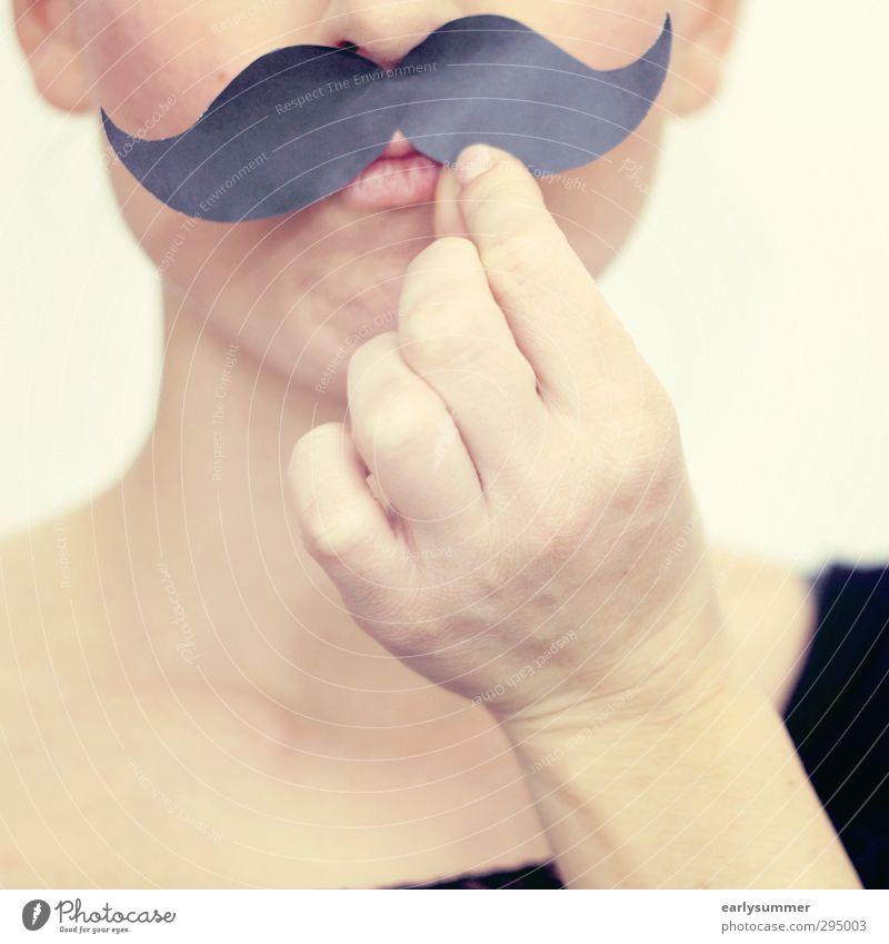 moustache Frau Kind Mann Hand Freude Gesicht Erwachsene lustig außergewöhnlich Kopf Party Lifestyle verrückt Mund Bart Karneval
