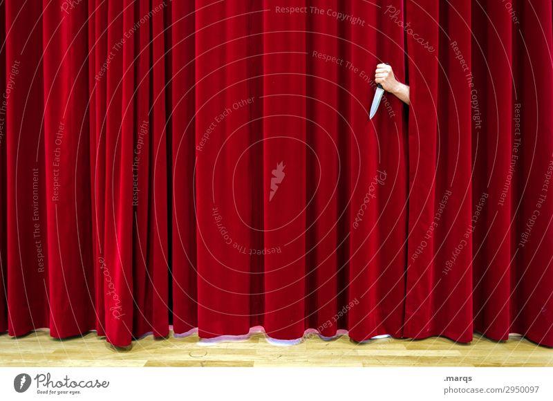 Schauspiel Arme Hand Theaterschauspiel Vorhang Messer Mord rot Rache Gewalt Mörder Krimi Aggression Bühne Kriminalität töten Tragödie Muster skurril Angst