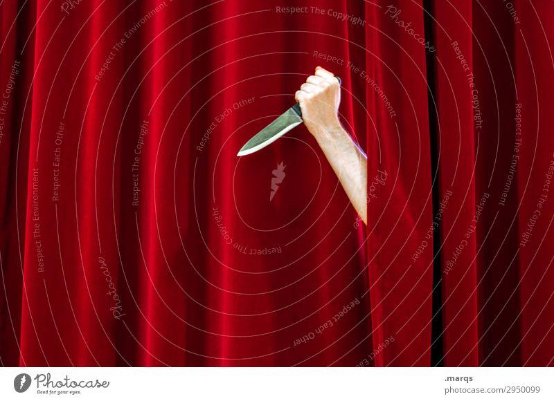 Mörderisch Arme Hand Theaterschauspiel 1 Messer Messerstich Bühne Vorhang Bühnenbeleuchtung rot Feindseligkeit Rache Gewalt Aggression Tod Mord Mordlust Krimi