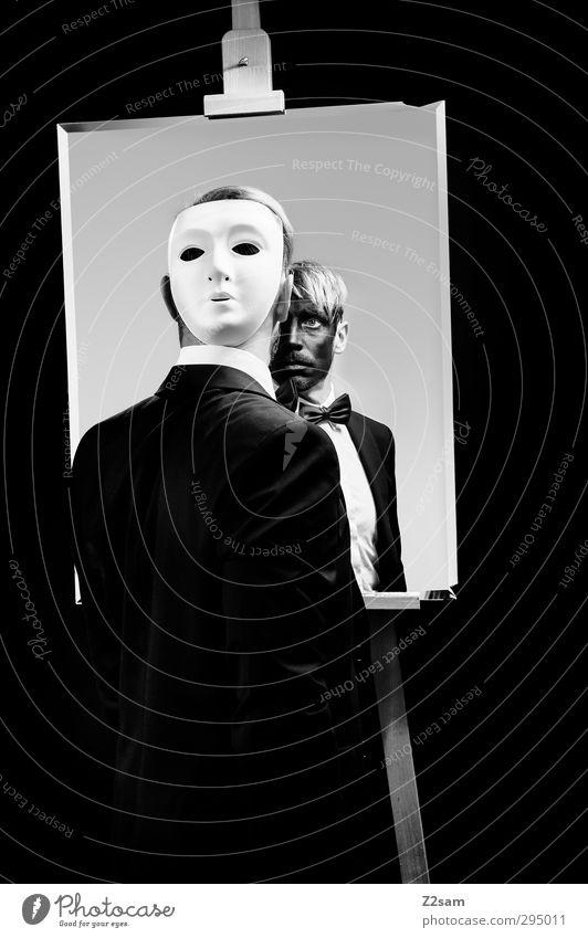 2Face / Phantom... Mensch Jugendliche Erwachsene Junger Mann Stil träumen maskulin blond elegant stehen Wandel & Veränderung Sauberkeit einzigartig Hemd Maske
