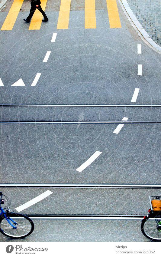 Straßenkreuzung mit Begrenzungslinien, Zebrastreifen, Fußgänger und Fahrradfahrern Stadt Verkehrsführung Fahrradfahren Wegkreuzung Straßenbahn Gleise Zeichen