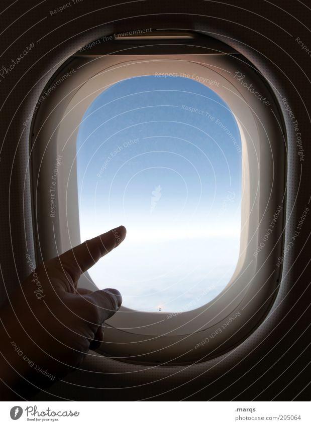 Weg Himmel Ferien & Urlaub & Reisen Hand Ferne Freiheit Flugzeugfenster fliegen Verkehr frei Tourismus Luftverkehr Beginn Finger Abenteuer Ziel