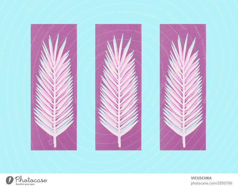 Lila Palmblätter auf blauem Hintergrund Natur Sommer Blatt Hintergrundbild Stil rosa Design Dekoration & Verzierung Symbole & Metaphern violett Entwurf Ornament