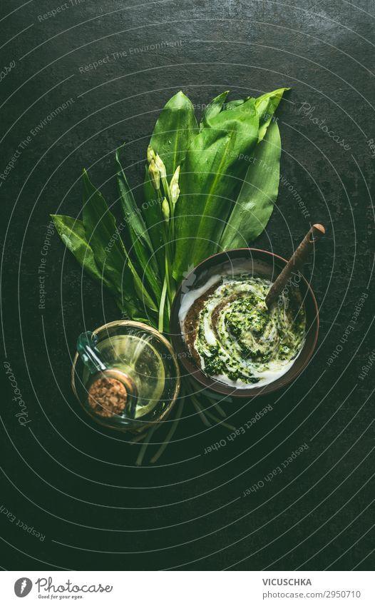 Bärlauch Joghurt-Dip oder Salatdressing Lebensmittel Kräuter & Gewürze Ernährung Bioprodukte Vegetarische Ernährung Diät Geschirr Stil Design Gesunde Ernährung