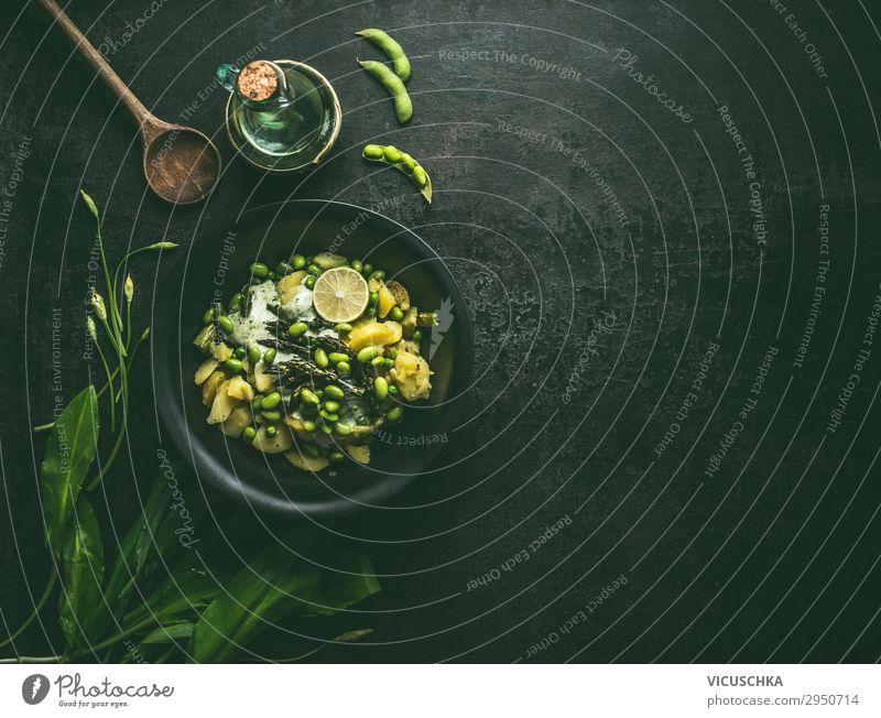 Kartoffelsalat mit grüner Spargel und Edamame Lebensmittel Gemüse Salat Salatbeilage Ernährung Bioprodukte Vegetarische Ernährung Diät Geschirr Design
