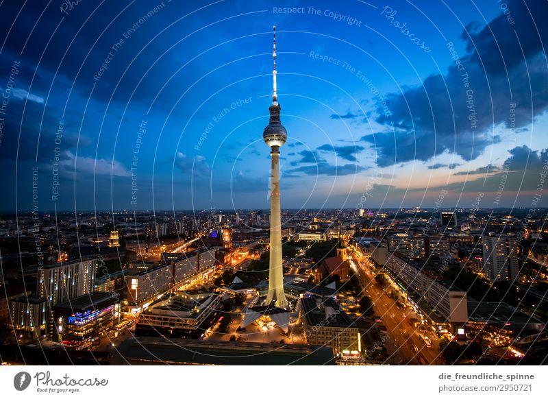 Sonnenuntergang am Fernsehturm II Aussicht Berlin Berliner Fernsehturm Panorama (Aussicht) Hauptstadt Stadt Himmel Architektur Turm Alexanderplatz