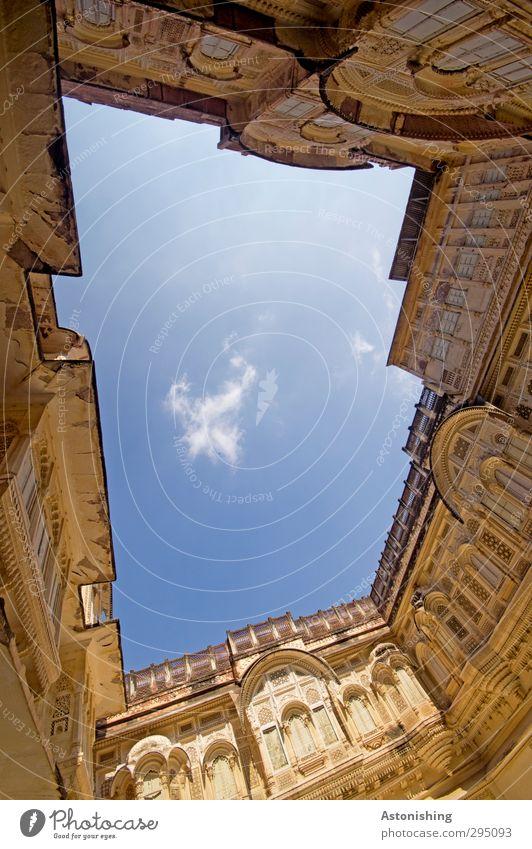 Hof Himmel Wolken Wetter Schönes Wetter Jodphur Rajasthan Indien Asien Stadt Haus Palast Burg oder Schloss Bauwerk Gebäude Architektur Mauer Wand Fassade Balkon