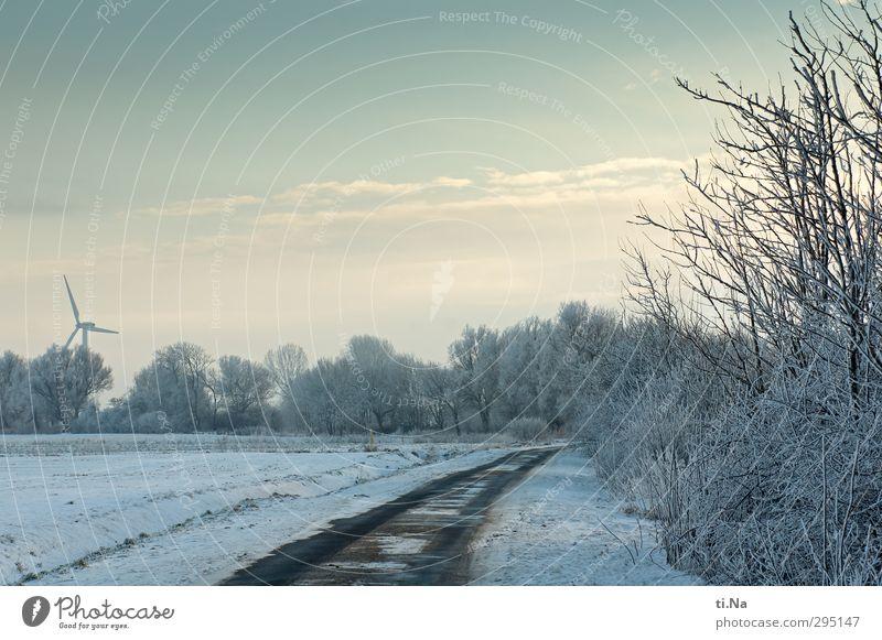 """es """"war"""" schön Fortschritt Zukunft Energiewirtschaft Erneuerbare Energie Windkraftanlage Himmel Wolken Frühling Winter Schönes Wetter Eis Frost Schnee Feld"""