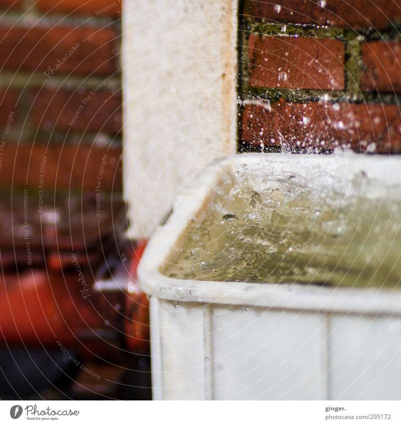 Köln [CW] 03/13 | Geschmolzene Schneeflocken Backstein Kunststoff Wasser Flüssigkeit glänzend schön nah rot springen platschen spritzen aufgewühlt Fuge Säule