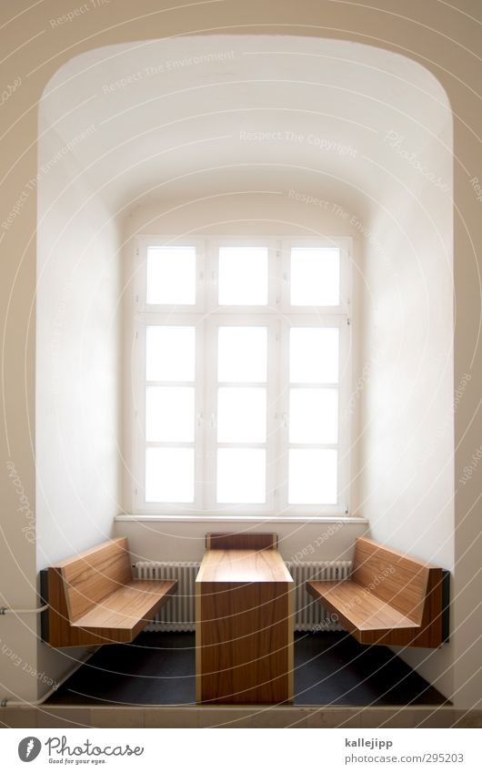 fensterplatz in der holzklasse Lifestyle Stil Design Häusliches Leben Traumhaus Innenarchitektur Möbel Tisch Raum hell Fensterplatz Nische Holz Maserung