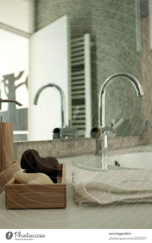 frühjahrsputzwochenende Lifestyle schön Körperpflege Wellness Erholung ruhig Wohnung Innenarchitektur Dekoration & Verzierung Spiegel Raum Bad grau weiß