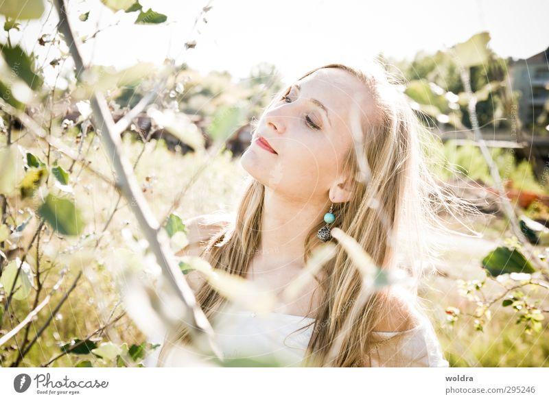Licht Mensch feminin Junge Frau Jugendliche Erwachsene Leben Haare & Frisuren Gesicht 1 18-30 Jahre Umwelt Natur Pflanze Sonne Sonnenlicht Sommer Schönes Wetter