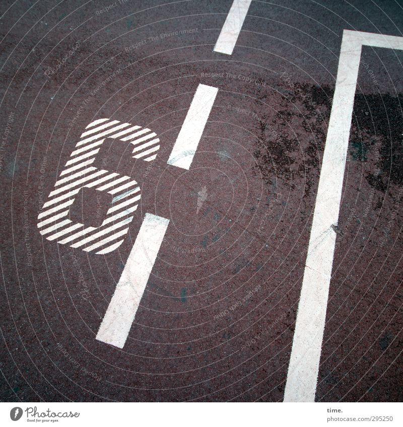 Startnummer 6 Stadt Farbe Ferne Sport Wege & Pfade Stein Zeit Linie Design Schilder & Markierungen Ordnung Dekoration & Verzierung Platz ästhetisch Beton
