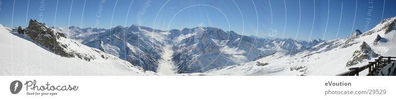 Hintertux - Panorama ins Tal Sonne Sport Schnee groß Gletscher Tux