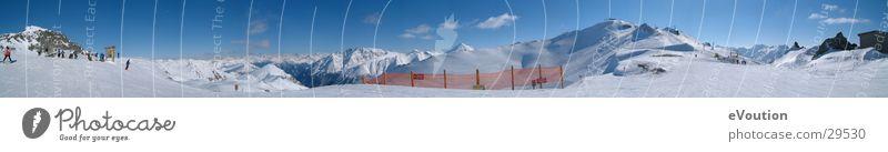 Hintertux - Panorama vom Gipfel Sonne blau Sport groß Gletscher Tux