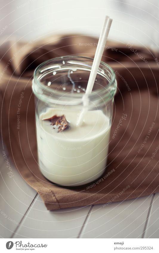 Schokoeiswürfel braun Glas Getränk lecker Frühstück Schokolade Milch Trinkhalm