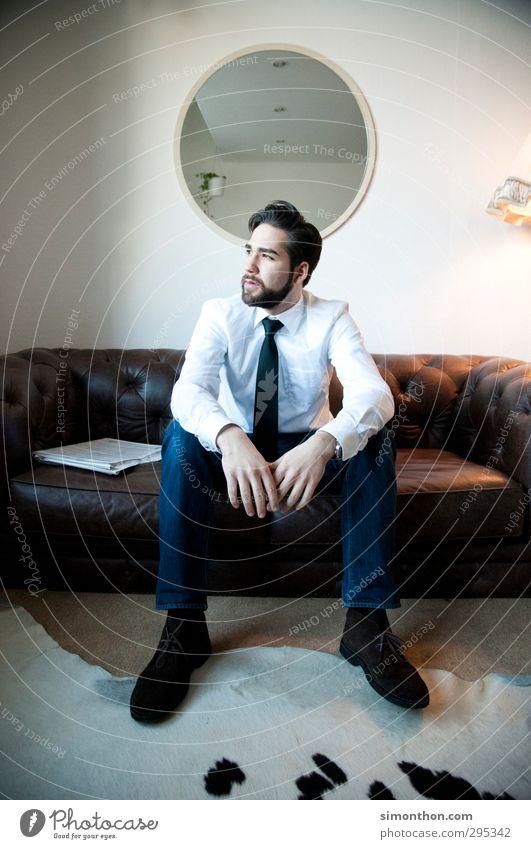 Pause Mensch Jugendliche Erholung Einsamkeit 18-30 Jahre Erwachsene Stil Business maskulin Zufriedenheit Erfolg Design Geld Geldinstitut Sitzung Beratung