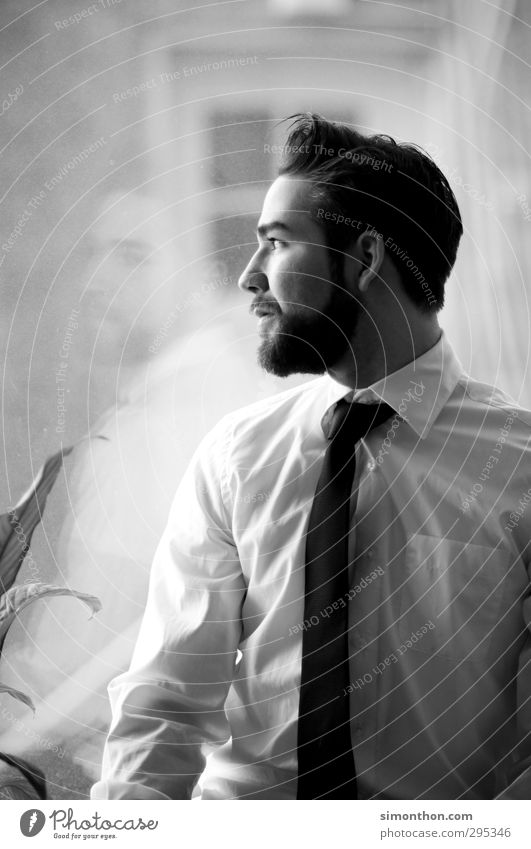 Ausblick Mensch Jugendliche ruhig Erwachsene Fenster 18-30 Jahre Business Büro maskulin Erfolg Zukunft Studium Pause Wunsch Gesellschaft (Soziologie) Wirtschaft