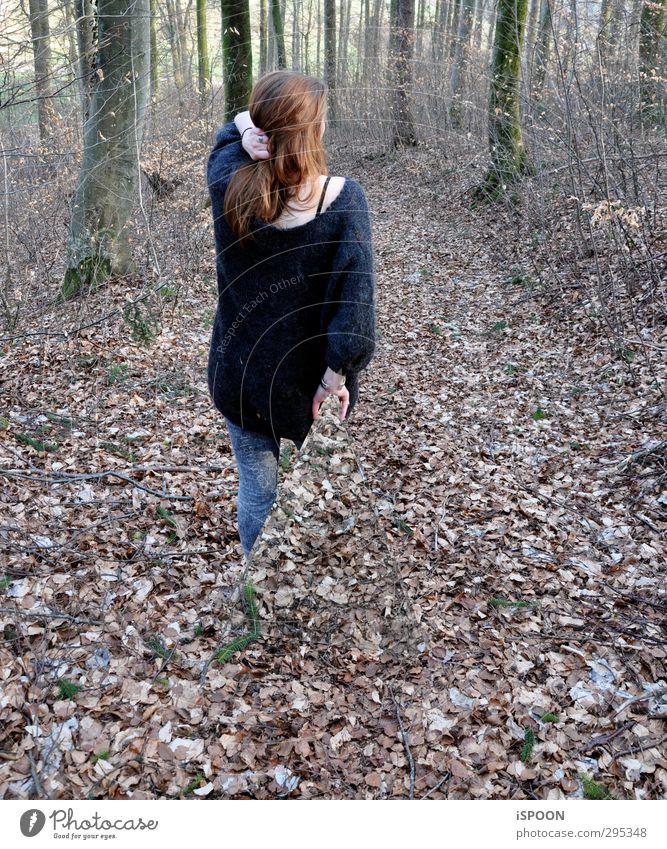 Disparu Stil Mensch feminin Junge Frau Jugendliche Kopf Haare & Frisuren Rücken Beine 1 18-30 Jahre Erwachsene Natur Baum Sträucher Wald Hose Pullover brünett