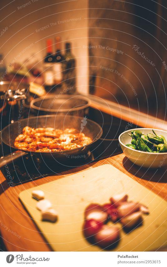 #A# Kochen Kunst ästhetisch kochen & garen Essen zubereiten braten Pfanne Küche Küchentisch Herd & Backofen Meeresfrüchte Ernährung Farbfoto Gedeckte Farben