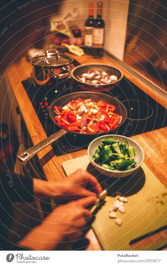 #A# fresh food Kunst ästhetisch Essen Essen zubereiten braten Paprika Schneidebrett Knoblauch mediterran Rezept kochen & garen Farbfoto Gedeckte Farben