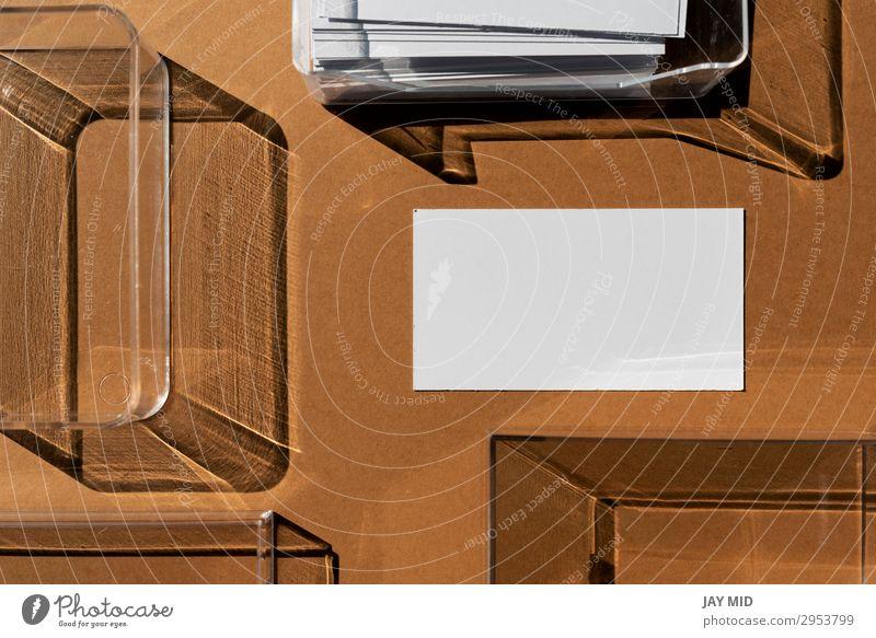 Leere Visitenkarte und geometrische Schatten Stil Design Arbeit & Erwerbstätigkeit Büro Unternehmen Papier modern braun Identität Werbung blanko Attrappe