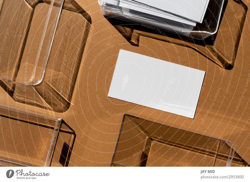 Leere Visitenkarte und geometrische Schatten Stil Design Arbeit & Erwerbstätigkeit Arbeitsplatz Büro Handel Business Unternehmen Papier modern braun Identität