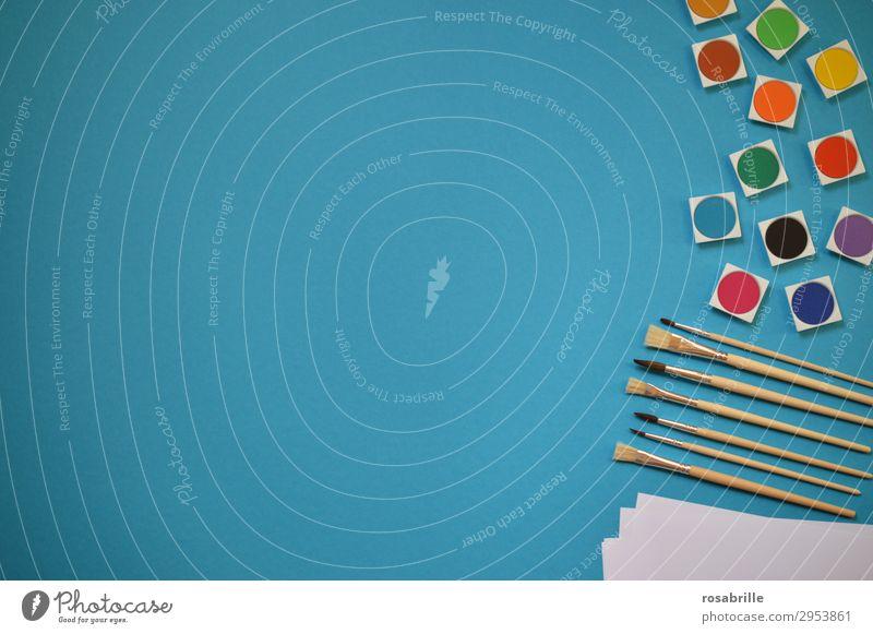 bunte Malutensilien als Band rechts Freizeit & Hobby Bildung Erwachsenenbildung Arbeitsplatz Feierabend Kunst Künstler Maler Gemälde Schreibwaren Papier