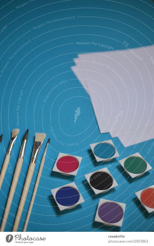 farbenfrohe Künstlerutensilien Freude Freizeit & Hobby Bildung Arbeitsplatz Feierabend Kunst Gemälde Schreibwaren Papier zeichnen streichen warten Fröhlichkeit