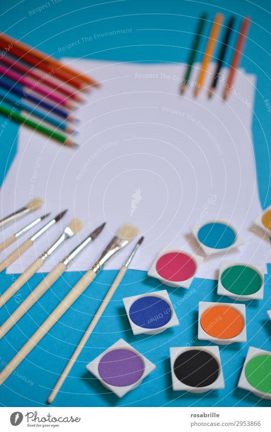 kreatives Bunt Farbe weiß Farbstoff Kunst Freizeit & Hobby Ordnung ästhetisch Fröhlichkeit Kreativität Lebensfreude Papier malerisch malen Erwachsenenbildung
