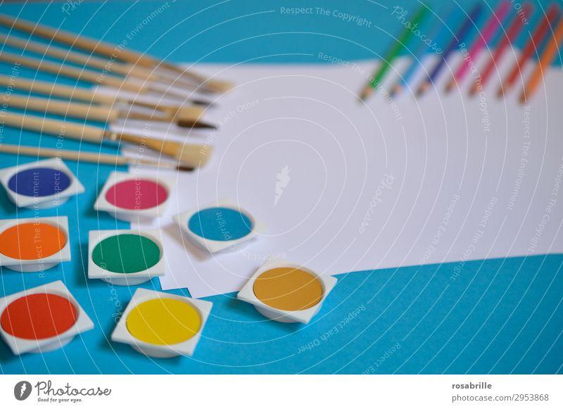 kreativ werden Farbe weiß Farbstoff Kunst Freizeit & Hobby Ordnung ästhetisch Fröhlichkeit Kreativität Lebensfreude Papier malerisch malen Erwachsenenbildung