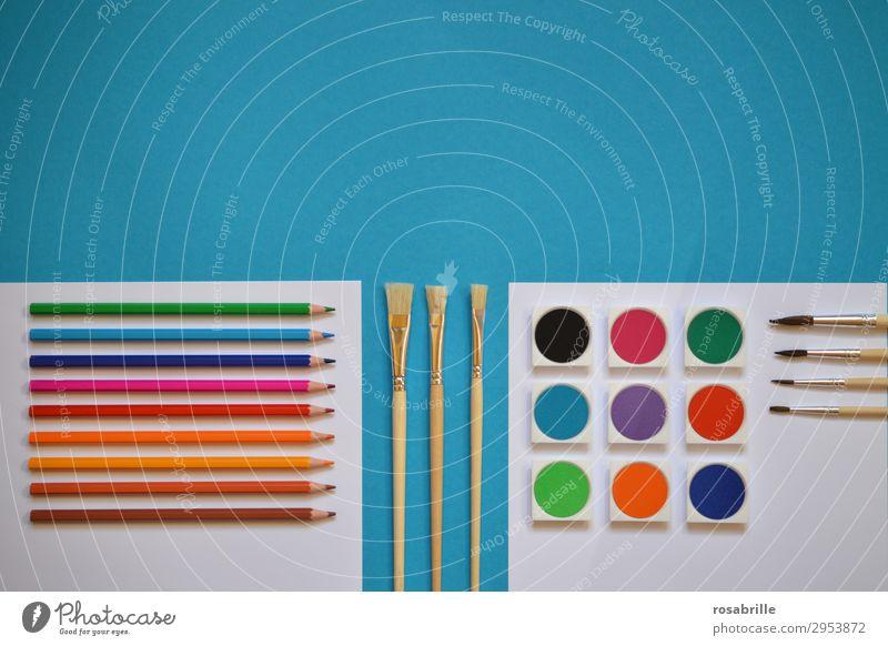 bunte Malutensilien ordentlich aufgereiht Freizeit & Hobby zeichnen malen Gemälde malerisch Arbeitsplatz Feierabend Kunst Künstler Maler Schreibwaren Papier