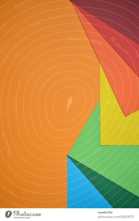 kunterbunt 3 Freude Freizeit & Hobby Basteln Arbeitsplatz Kunst Kunstwerk Schreibwaren Papier ästhetisch Fröhlichkeit positiv blau gelb grün orange rot türkis