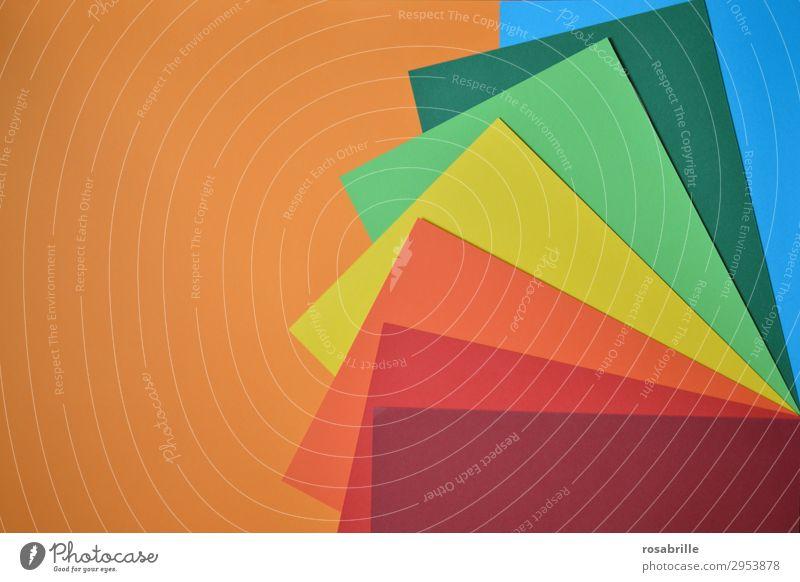 kunterbunt 5 Freude Freizeit & Hobby Basteln Arbeitsplatz Kunst Kunstwerk Schreibwaren Papier ästhetisch Fröhlichkeit positiv blau gelb grün orange rot türkis