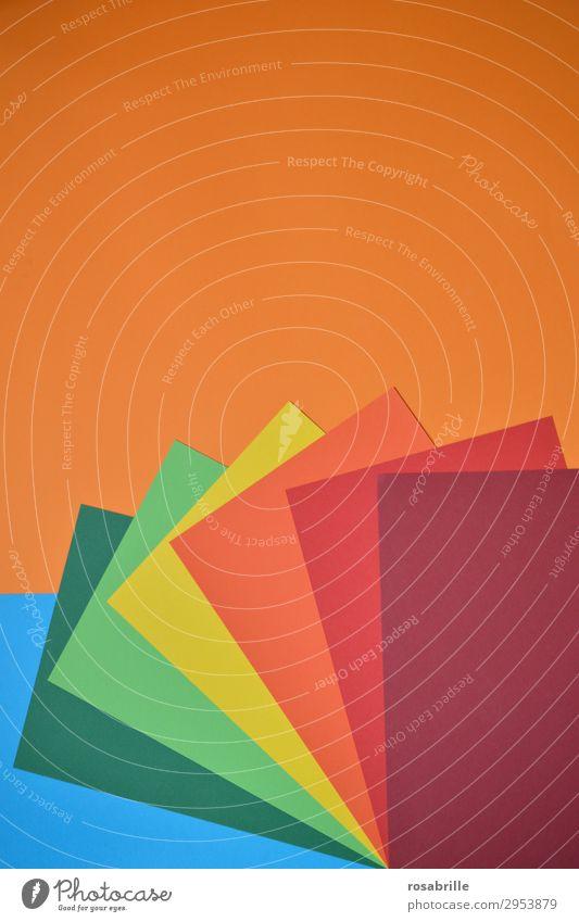 kunterbunt 1 Freude Freizeit & Hobby Basteln Arbeitsplatz Kunst Kunstwerk Schreibwaren Papier ästhetisch Fröhlichkeit positiv blau gelb grün orange rot türkis