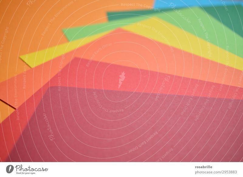 kunterbunt 2 Freude Freizeit & Hobby Basteln Arbeitsplatz Kunst Kunstwerk Schreibwaren Papier ästhetisch Fröhlichkeit positiv blau gelb grün orange rot türkis