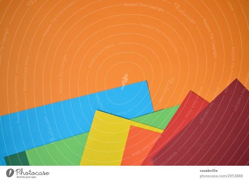 Farbkarton in Regenbogenfarben | Farbkombination Papier Karton bunt regenbogenfarben Hintergrund Fläche abstrakt neutral Kreativität kreativ leer Farbtöne