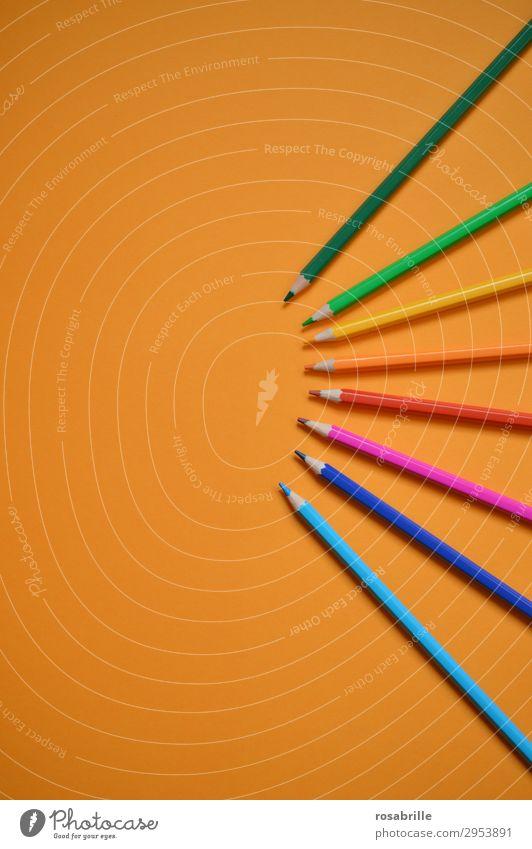 Farbfächer Freizeit & Hobby Bildung Erwachsenenbildung Arbeitsplatz Feierabend Kunst Schreibwaren Papier Schreibstift zeichnen ästhetisch Fröhlichkeit orange