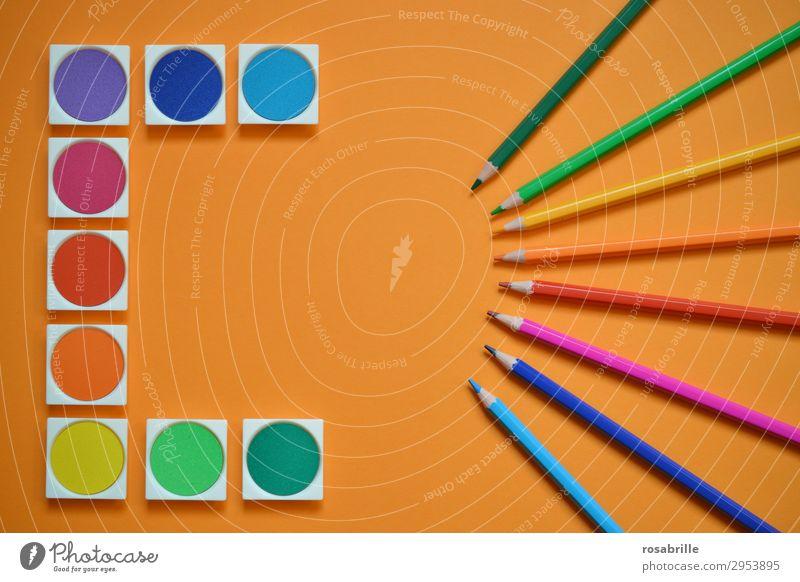 Farbenspiel Freizeit & Hobby zeichnen malen Gemälde malerisch Arbeitsplatz Feierabend Kunst Künstler Maler Schreibwaren Papier Schreibstift Wasserfarbe