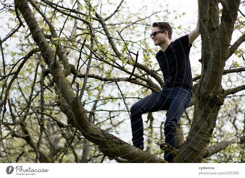 Frühlingsgefühle Mensch Natur Jugendliche Baum Freude Landschaft Erwachsene Umwelt Junger Mann Leben Gefühle Frühling Bewegung Freiheit 18-30 Jahre Stil