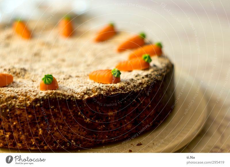 Rüblitorte zum Feste Kuchen Süßwaren Torte Möhre Puderzucker Marzipan Kaffeetrinken Vegetarische Ernährung Tortenplatte Feste & Feiern Geburtstag Bäcker