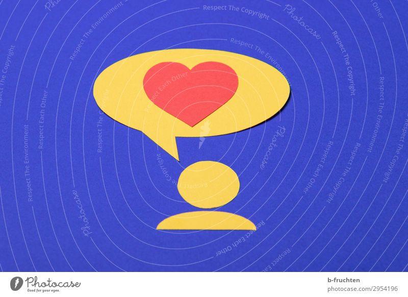 Ich liebe dich! Erfolg sprechen Team 1 Mensch Papier Zeichen Herz Liebe Fröhlichkeit blau gelb rot Piktogramm Sprechblase Kommunizieren Verliebtheit Treue