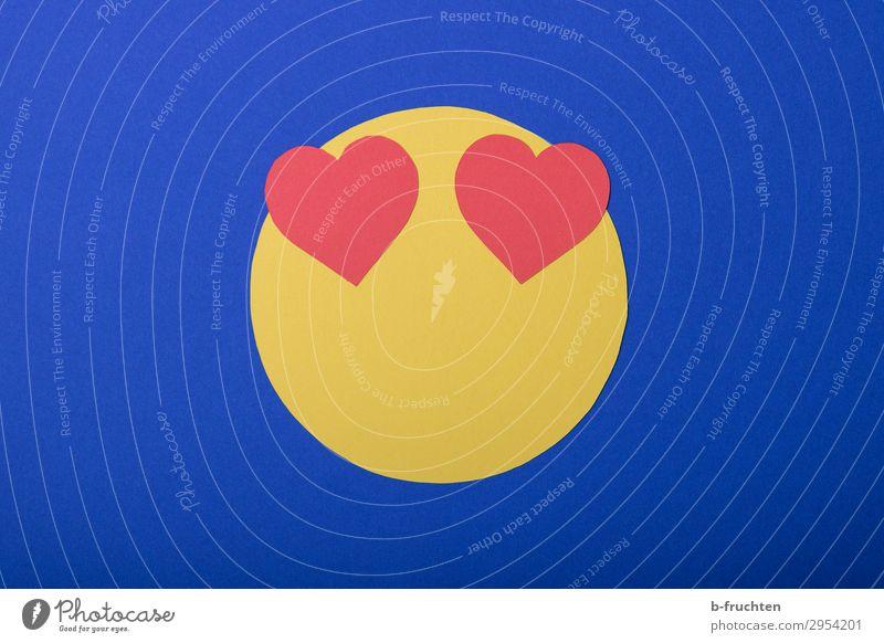 Emoji - I love it Wirtschaft Business sprechen Gesicht Papier Dekoration & Verzierung Zeichen gebrauchen Liebe Blick frei Freundlichkeit Fröhlichkeit Glück blau
