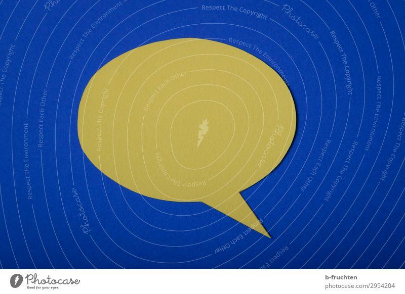 blablabla Arbeitsplatz Business Sitzung sprechen Team Papier Zeichen blau gelb leer Sprechblase Kommunizieren schweigen Denken Farbfoto Studioaufnahme