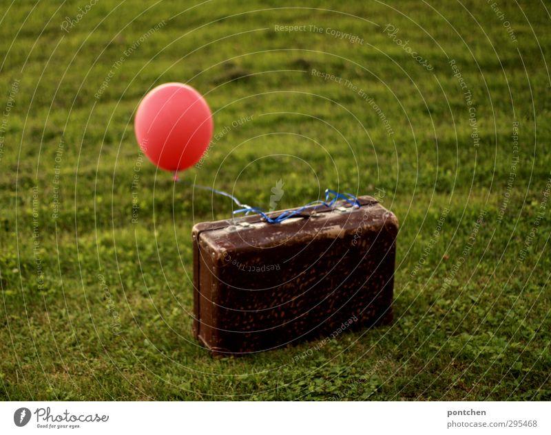 Luftfracht Natur Ferien & Urlaub & Reisen grün rot Garten braun Luftverkehr Dekoration & Verzierung Schnur Luftballon Kitsch Koffer Post Gepäck Krimskrams