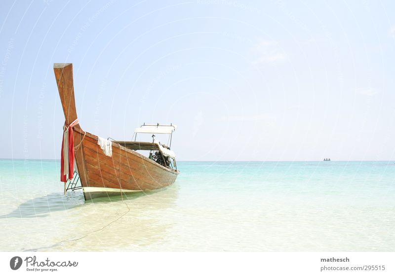 boat Himmel Ferien & Urlaub & Reisen Wasser Sommer Sonne Meer ruhig Strand Erholung Wärme Küste Schwimmen & Baden Sand Luft Wellen Insel