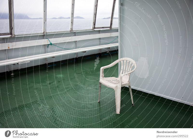 Einsame Überfahrt Ferien & Urlaub & Reisen Tourismus Ferne Sightseeing Meer Güterverkehr & Logistik schlechtes Wetter Regen Schifffahrt Fähre Stahl Kunststoff