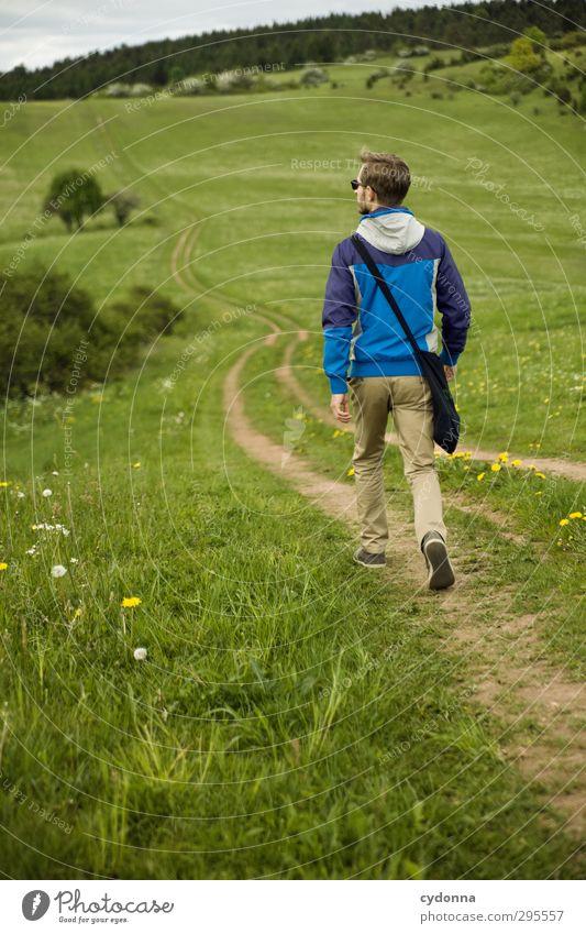 Immer weiter ... Mensch Natur Jugendliche Ferien & Urlaub & Reisen Sommer Landschaft ruhig Erholung Erwachsene Umwelt Ferne Junger Mann Wiese Leben Gras