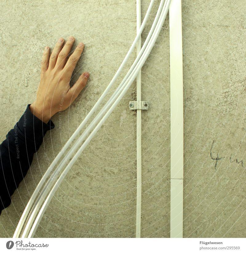 Elektriker @ Work Häusliches Leben Hausbau Renovieren Hand 1 Mensch Beton Arbeit & Erwerbstätigkeit eckig Elektromonteur Kabel Elektrizität elektrisch