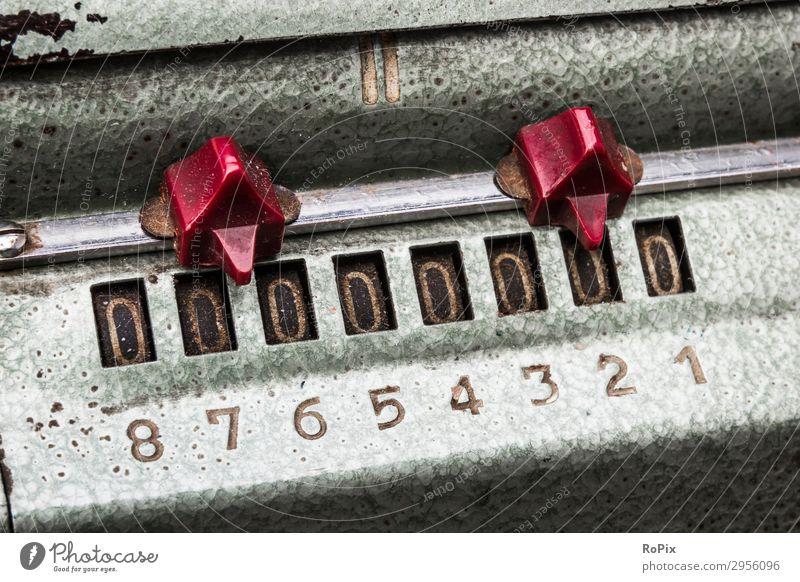 Zählwerk einer mechanischen Rechenmaschine. Maschine Technik Mechanik machine Spule gearing Kurbelwelle Kolben piston camshaft Presse Gelenk Schrauben Industrie